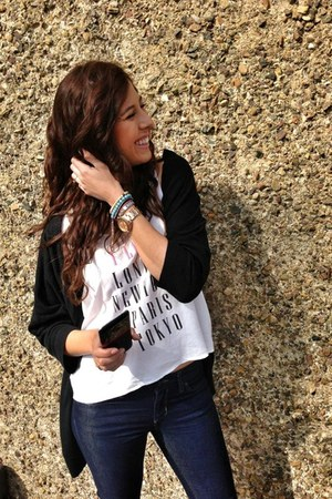 pink metal Fossil watch - jeans banana republic jeans - tshirt H&amp;M blouse