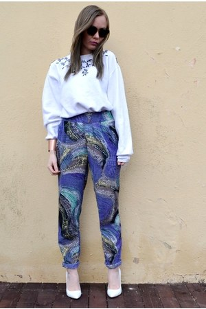 blue asos pants - white next pumps