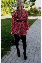 red vintage dress - black from Ebay shoes - black from Ebay belt