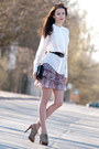 white Mango blouse - light purple Mango skirt - camel Mango heels