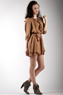 Light-brown-reserved-boots-brown-zara-dress-brown-bershka-bag