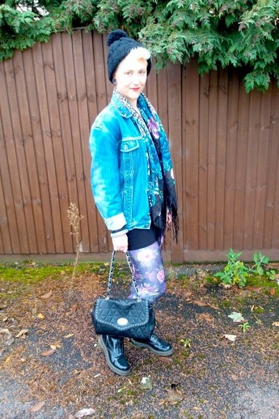 black H&M hat - black Dr Martens boots - blue vintage jacket
