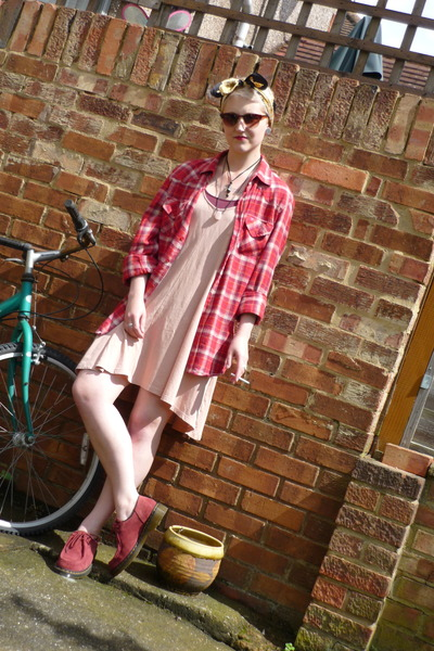 new look shirt - Dr Martens shoes - H&M dress - vintage scarf