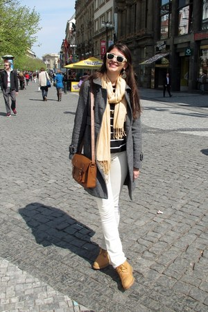 bronze Bershka bag - mustard Timberland boots - heather gray Springfield coat