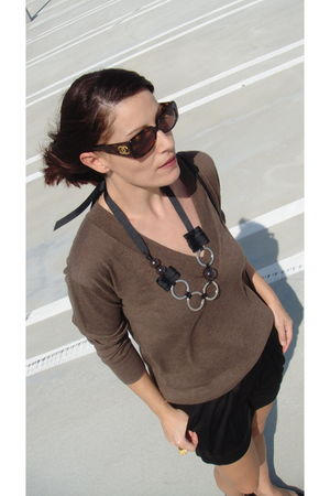Gap cardigan - French Connection shorts - Angeles Almuna Design necklace - Chane