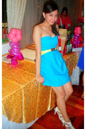 blue Mango PH dress - gold Mango PH belt - white vintage from my tita shoes