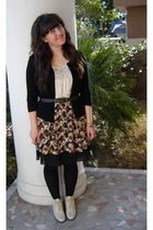 black Goodwill cardigan - beige new york & co shirt - black Goodwill skirt - bla