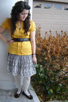 yellow Charlotte Russe blouse - brown belt - brown T Jmaxx skirt - beige my moms