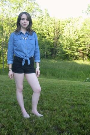 sky blue Forever21 shirt - black high waisted Charlotte Russe shorts