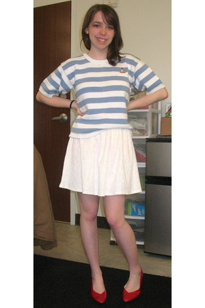 sky blue striped Vintage-Moms closet sweater - white Forever21 skirt