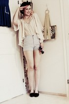 light pink KappAhl blouse - light blue flee market lindex shorts