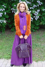 Bronze-loro-piana-blazer-light-purple-zara-scarf-purple-ysl-bag