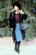 blue Oasis skirt - black gianmarco lorenzi boots - black Blackglama coat