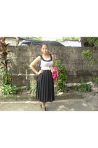 black bag - black skirt - light brown necklace - white blouse - white fuschia cr