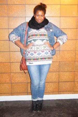 Jacquard sweater - sky blue H&M jeans - black American Retro boots - black H&M s