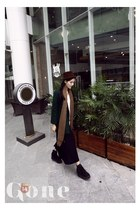 black shoes - dark green coat - dark brown hat