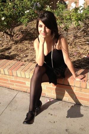 black flapper dress - black sheer tights - black mary janes American Eagle heels
