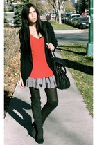 black wilfred blazer - red wilfred top - silver Forever 21 skirt - black Zara bo