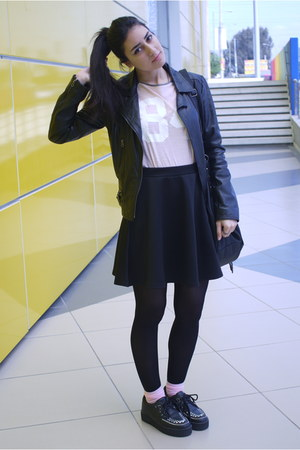 black leather Bershka jacket - black creepers TUK shoes