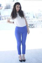 white H&M shirt - blue H&M pants - black H&M heels