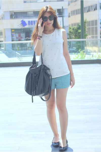 white studded H&M shirt - black Zara bag - turquoise blue patterned H&M shorts