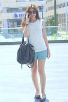 white studded H&M shirt - black Zara bag - turquoise blue patterned H&M shorts