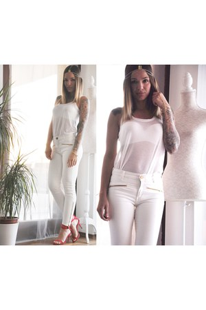 white H&M top - white Zara pants - white H&M bra