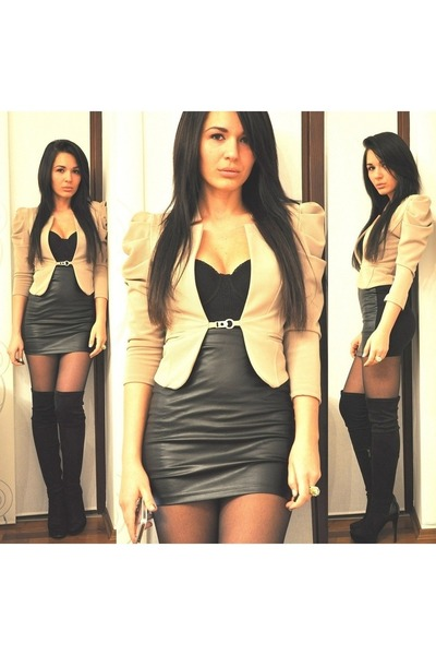 black Bershka boots - camel Bernice blazer - black Bershka skirt