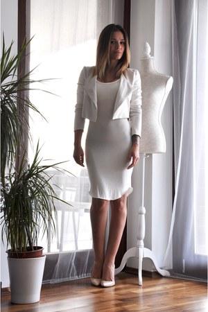 cream H&M dress - cream Bershka jacket - cream Ebay heels