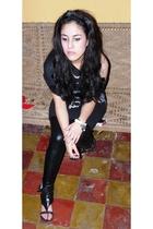 black Zara dress - black studded sandals Pull and Bear shoes