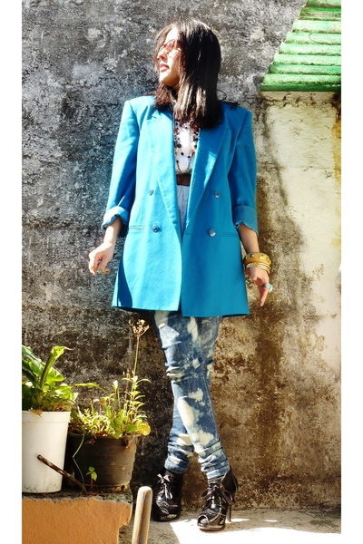 blue Oleg Cassini blazer - black shoes - blue DIY jeans - yellow Forever21 brace