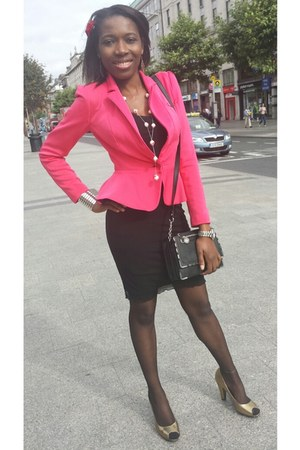 bubble gum Primark blazer - bubble gum blazer - gold next shoes