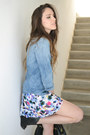 Blue-denim-shirt-forever-21-shirt-floral-shorts-shorts