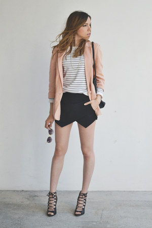 white striped Zara sweater - light pink linen Forever 21 jacket