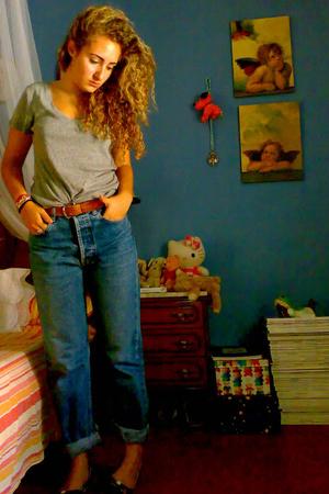 blue calvin klein jeans - black ballet flats Zara shoes