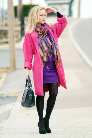 purple bluheaven dress - hot pink narciso rodriguez coat - black Fabi heels
