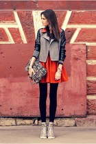 heather gray H&M boots - silver leather details Sheinside jacket