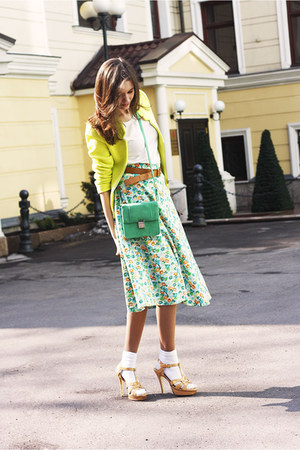 aquamarine vintage skirt - yellow Zara jacket - white Topman t-shirt