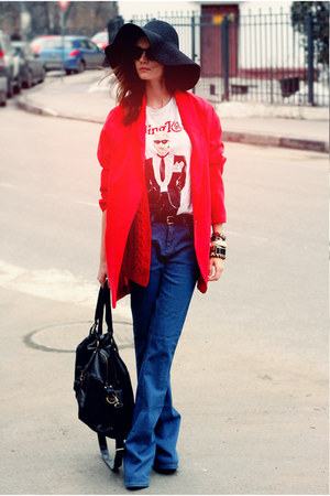 blue Topshop jeans - black American Apparel hat - red Zara jacket