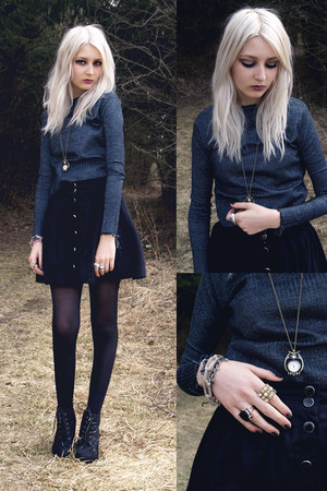 black skirt - dark gray Self-Sewn sweatshirt