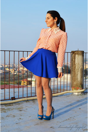 bubble gum pois BangGood shirt - blue BangGood skirt