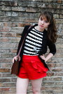 Black-blazer-white-zig-zag-shirt-brown-leather-bag-red-handmade-shorts