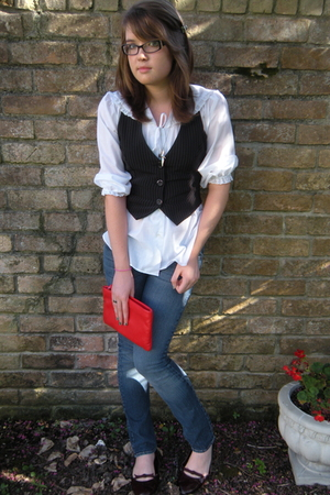 blouse - Heart Soul vest - Guess jeans - necklace - Target shoes