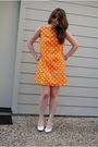 Orange-handmade-dress-white-shoes-orange-vintage-sunglasses