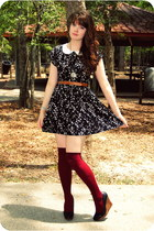 ruby red socks - black dress - black wedges