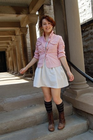 brown Steve Madden boots - eggshell homemade dress - light pink Gabriel Brothers