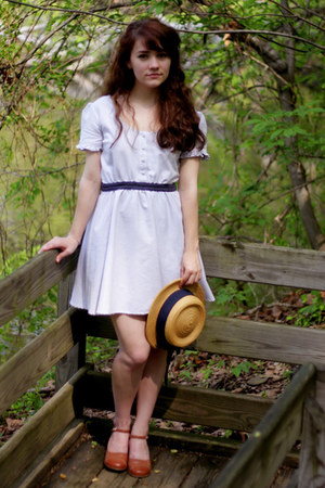 mustard vintage hat - bronze thrifted shoes - sky blue Urban Outfitters dress