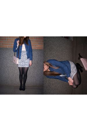 blue  jacket - black Primark shoes - white Monki skirt - beige Primark accessori