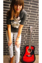 red acoustic guitar Redwood accessories - brown cowboy boots new look shoes