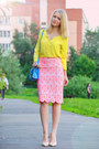 Yellow-esprit-blouse-bubble-gum-asos-skirt